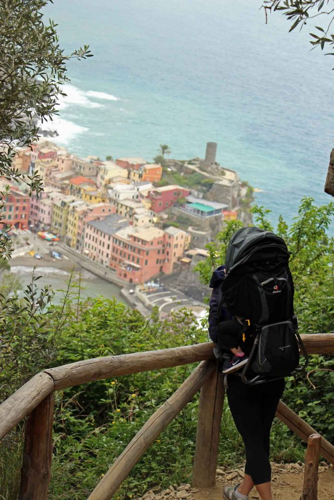 We did not visit Cinque Terre with a stroller. We loved carrying our kids in our Deuter backpack carriers.