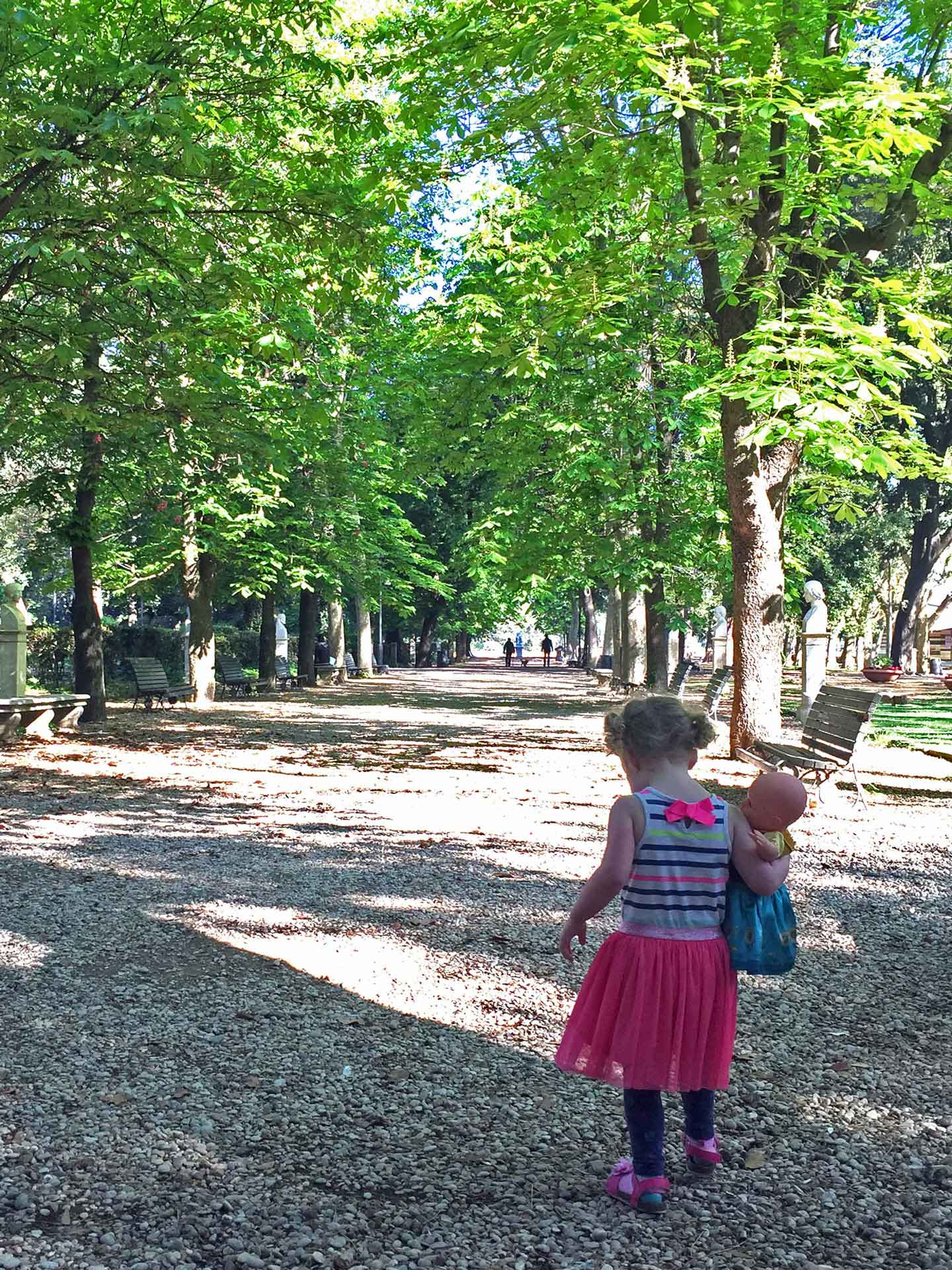 Villa Borghese Rome Italy with toddler