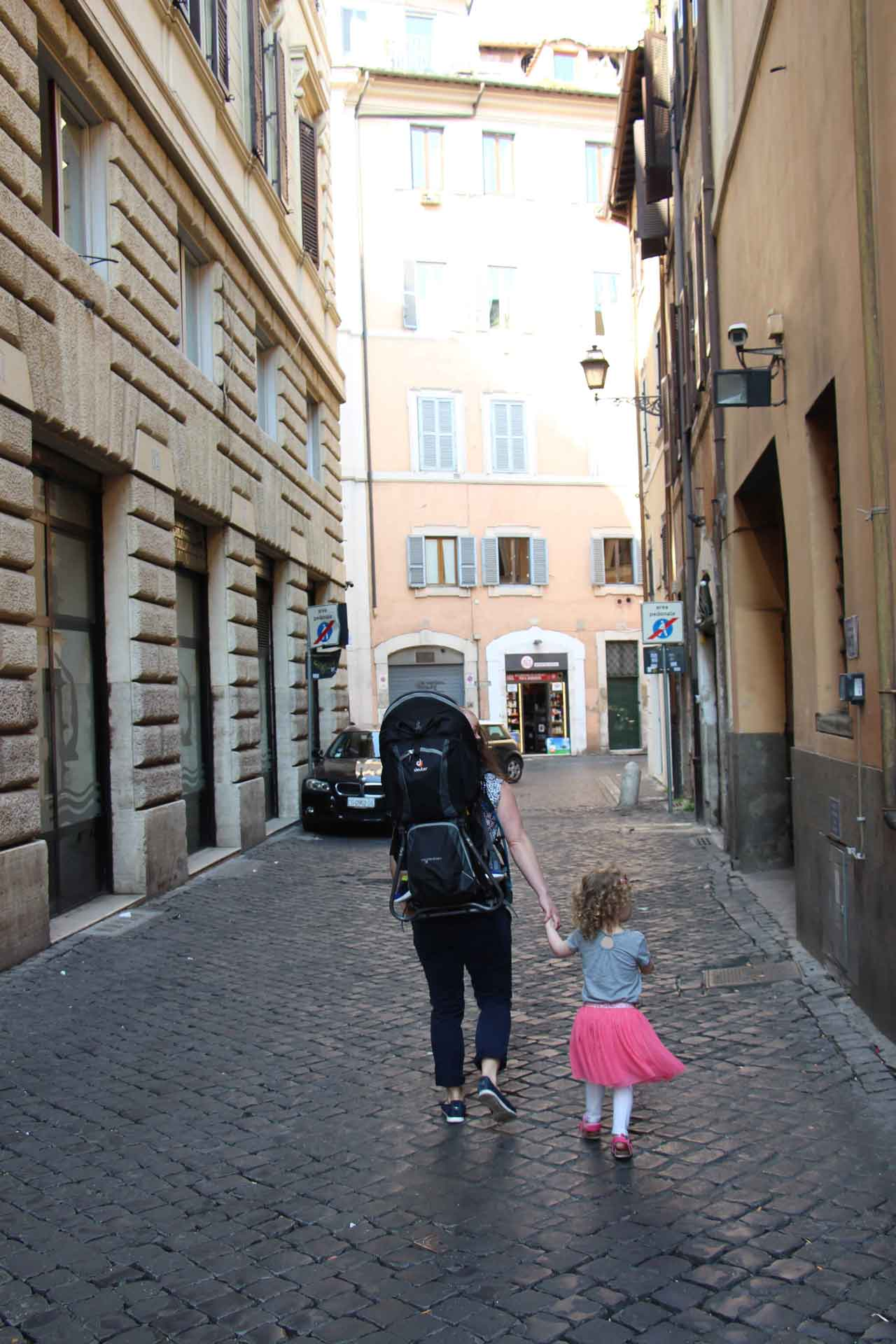 Walking in Rome with toddler