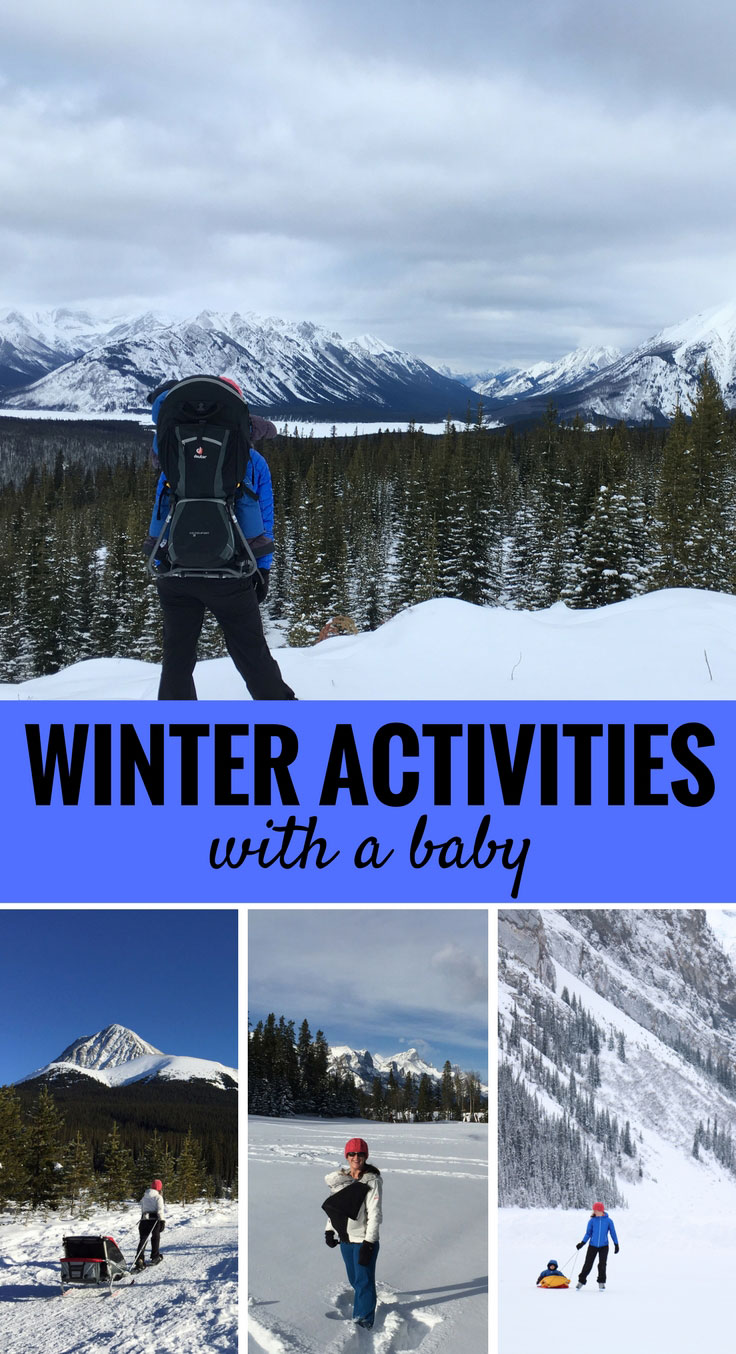 Don't be stuck inside all winter with your baby. Here are 5 activities you can do outside with your baby in the winter. #hikingwithchildren #hikingwithbaby #snowshoeing #winteractivities #baby #toddler
