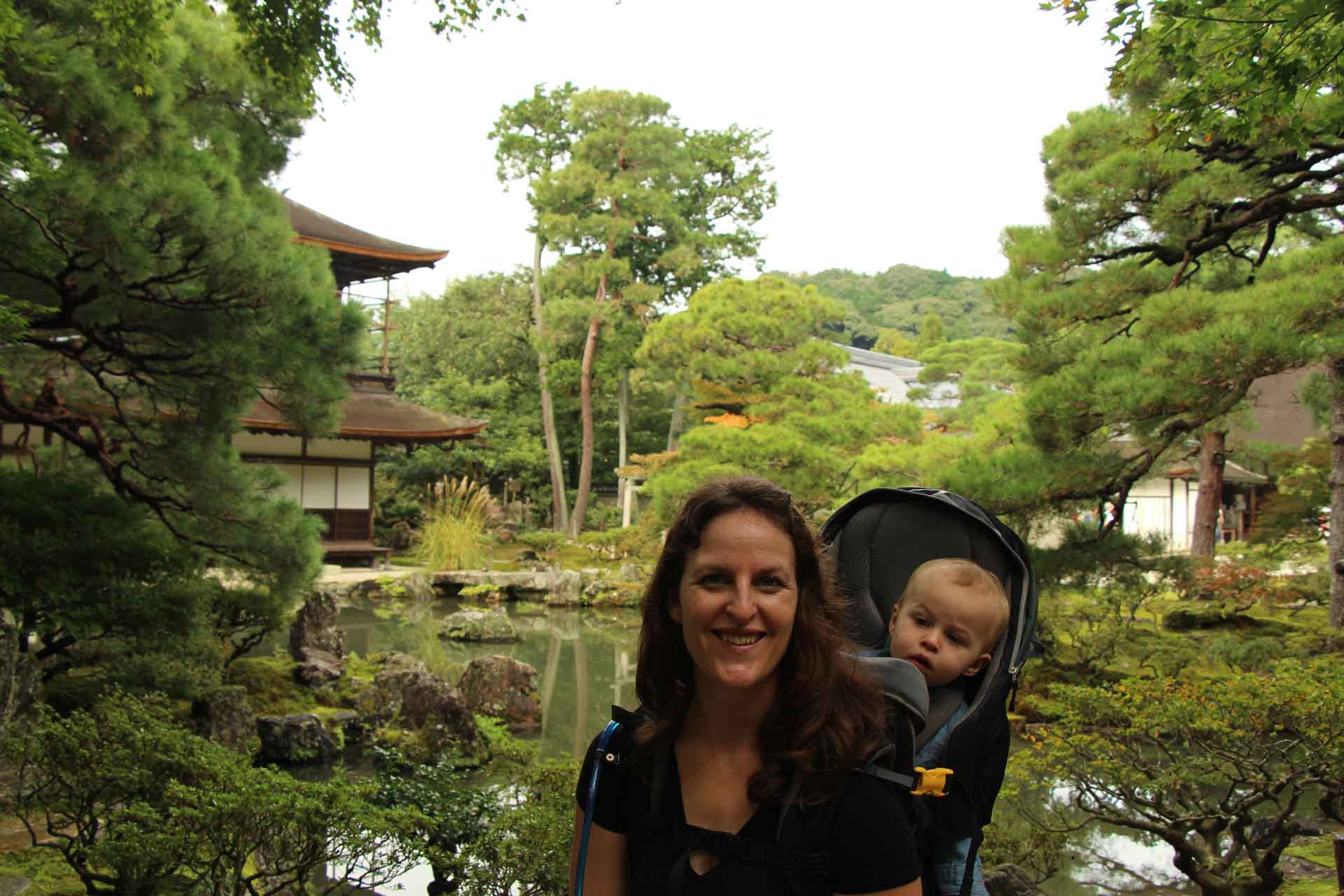 Ginkaku-ji temple in Kyoto with a baby