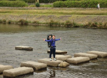 Kamo River Walk in Kyoto Japan with a toddler