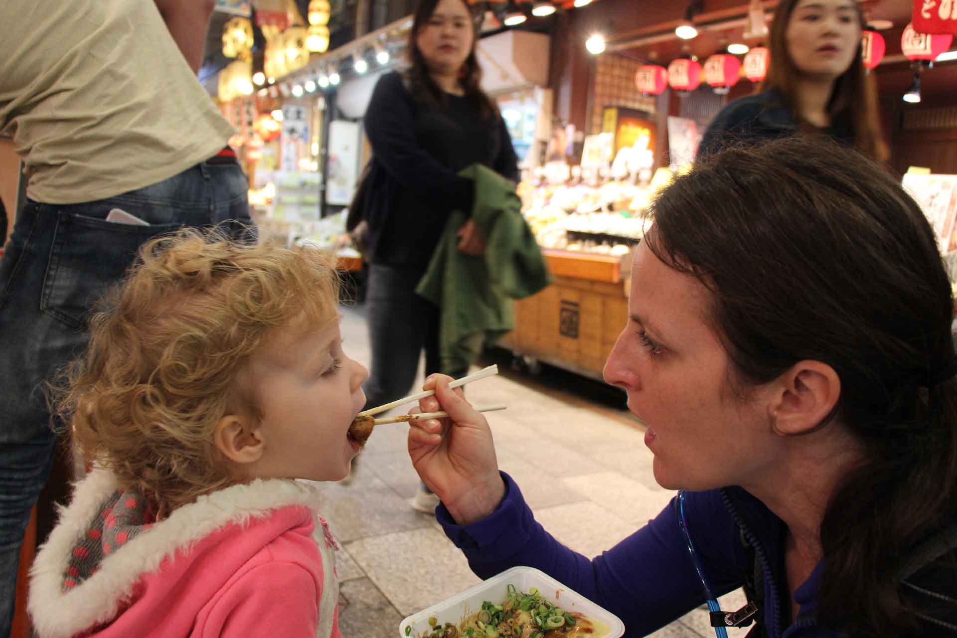 Nishiki Market in Kyoto Japan with a toddler
