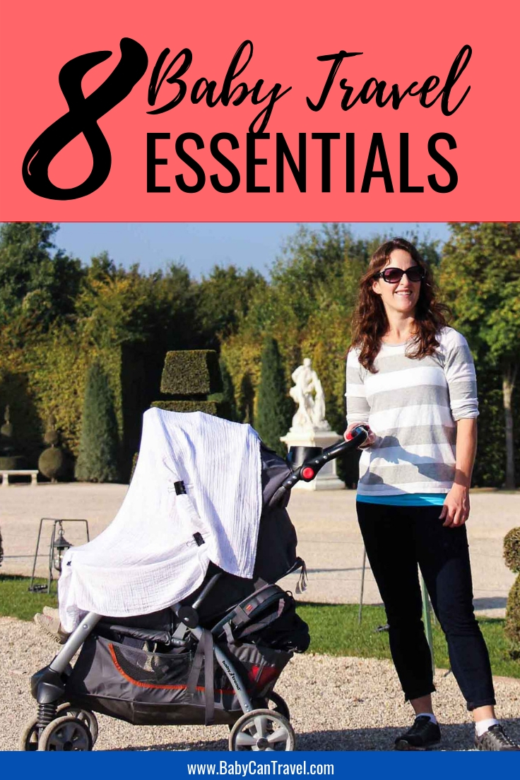 Here are the top 8 baby gear essentials we never leave home without when traveling with a baby! #babytravel #travelwithbaby #babygear #babyessentials #babygearessentials #travelgear #familytravel