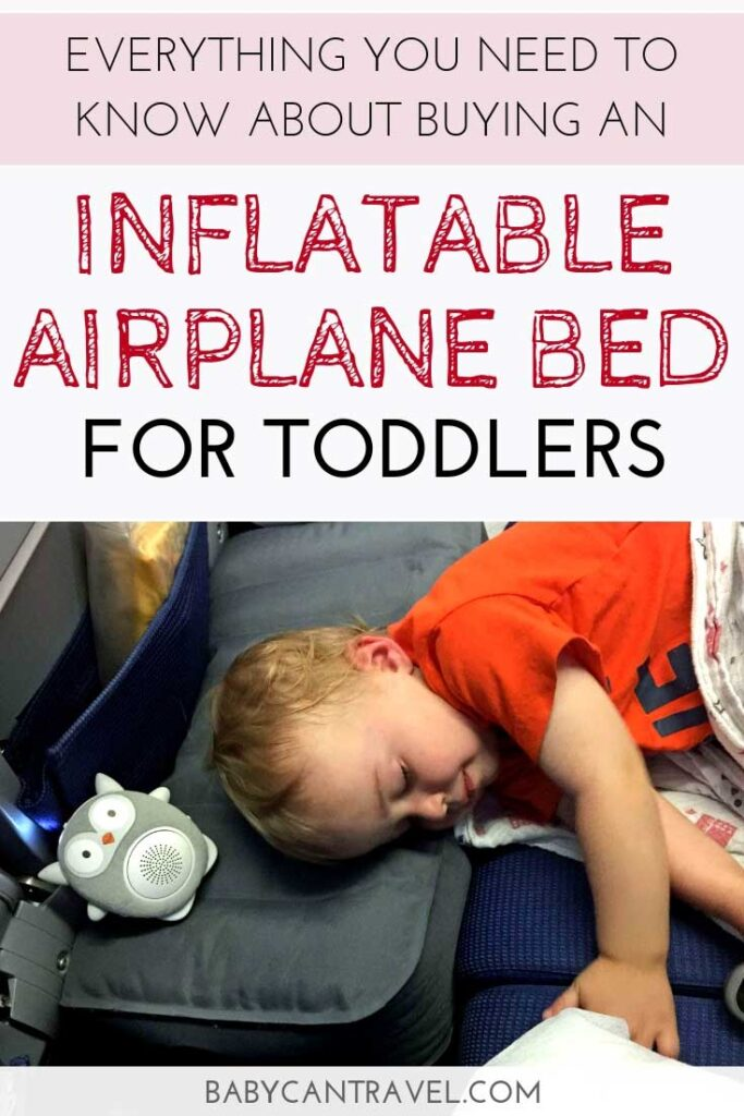 This inflatable travel bed has helped our children sleep on every flight we have brought it on. See the pros & cons of traveling with an inflatable airplane cushion here. #travelwithchildren #toddlertravel #familytravel #travelgear || Airplane Travel | Toddler Travel | Travel Gear | Travel with Kids | Travel with Children | Inflatable travel bed