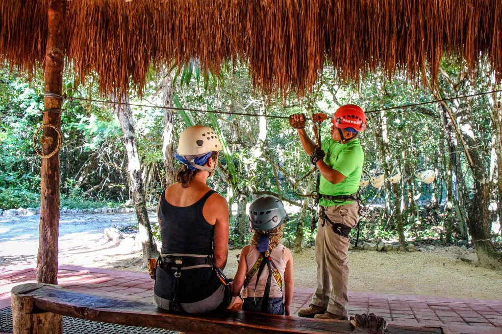 Ziplining in Mexico with kids