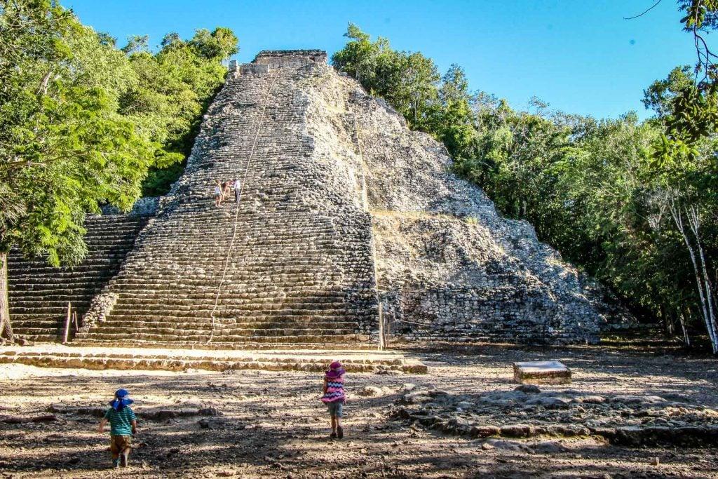 Coba ruins with kids