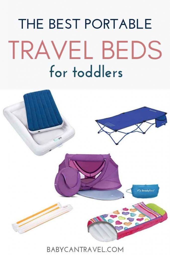 Best portable travel beds for toddlers. We look at the pros and cons of inflatable toddler travel beds, inflatable bed rails, foldable travel cots and toddler travel tents. Find the best toddler travel bed for traveling with a toddler here! #toddlertravel #toddlertravelessentials #travelwithkids