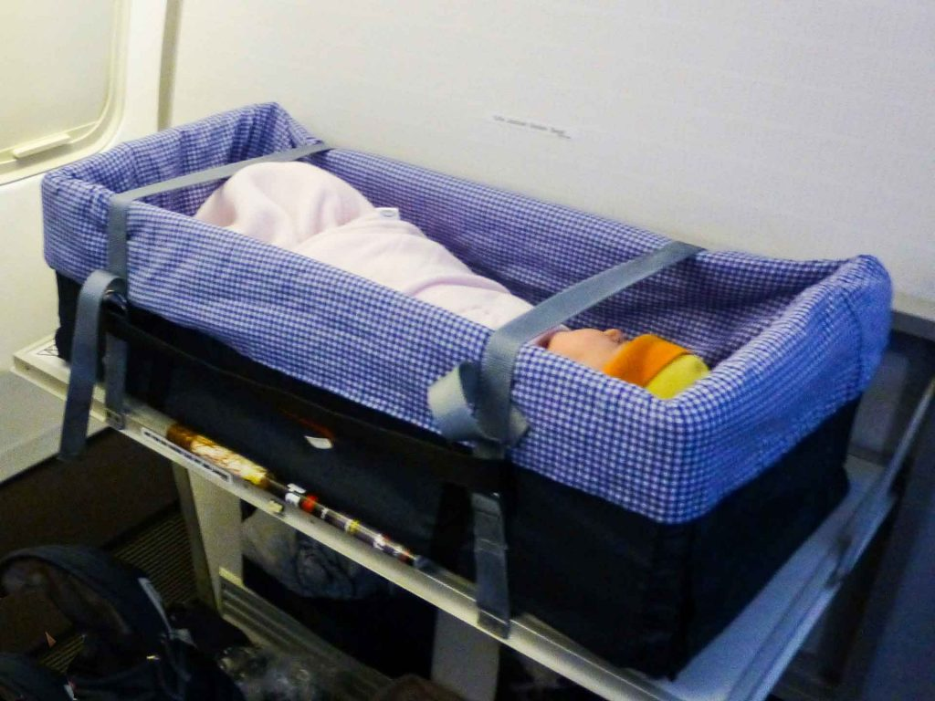 Airline Bassinet for flying with a baby