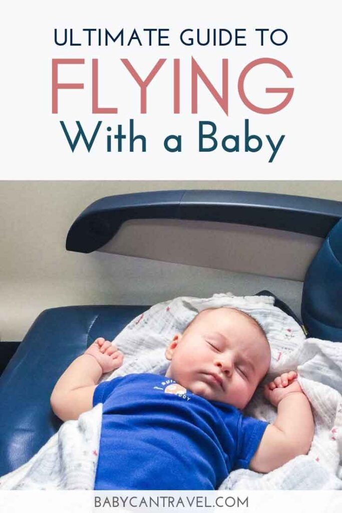 Baby sleeping on airplane - with text overly - Ultimate Guide to Flying with a Baby