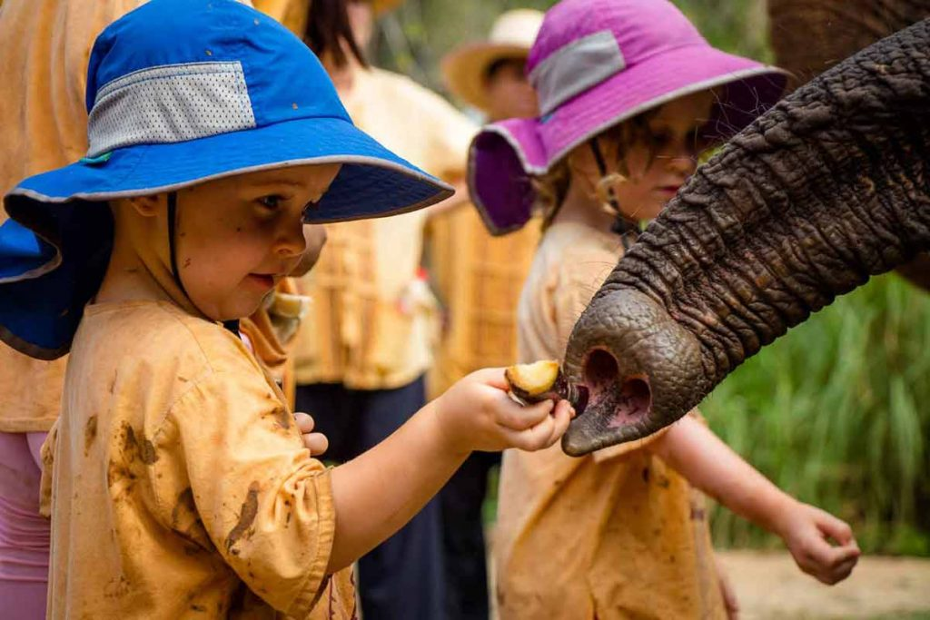 Toddler at Elephant Nature Park Thailand - best international destinations with toddlers