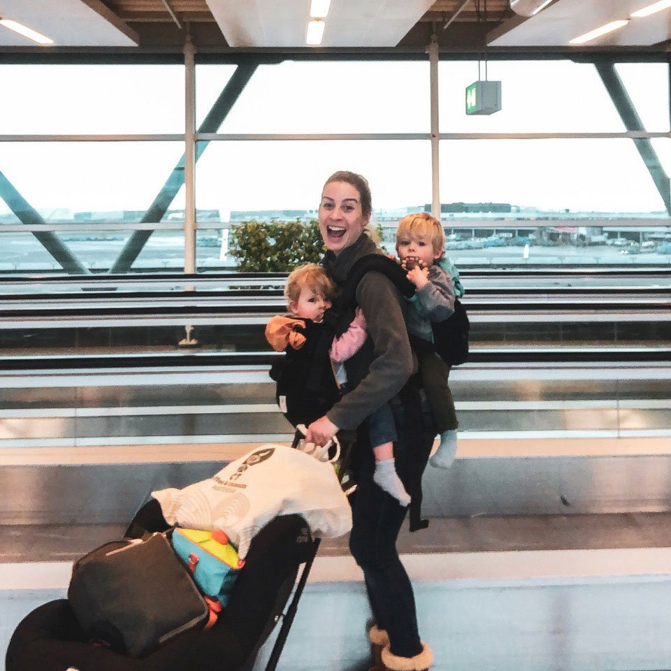 mom traveling with twin toddlers