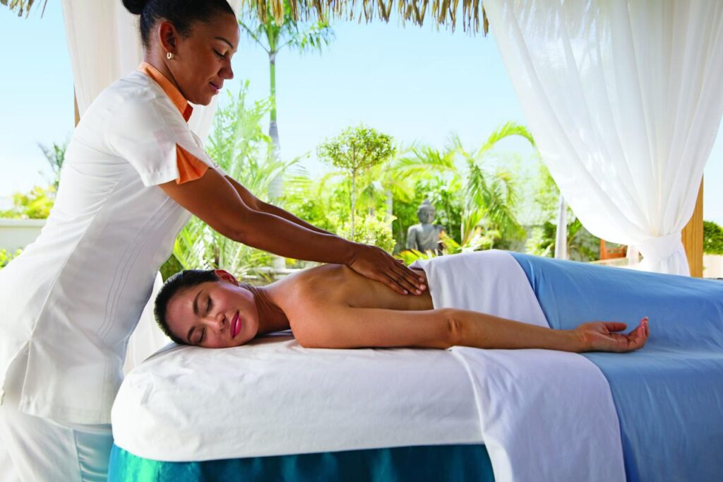 A lady enjoying a relaxing massage at the spa