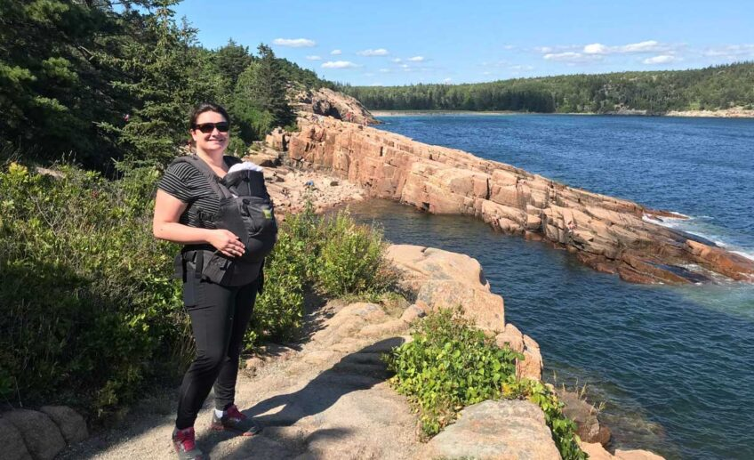 Hiking with baby in carrier in Acadia National Park