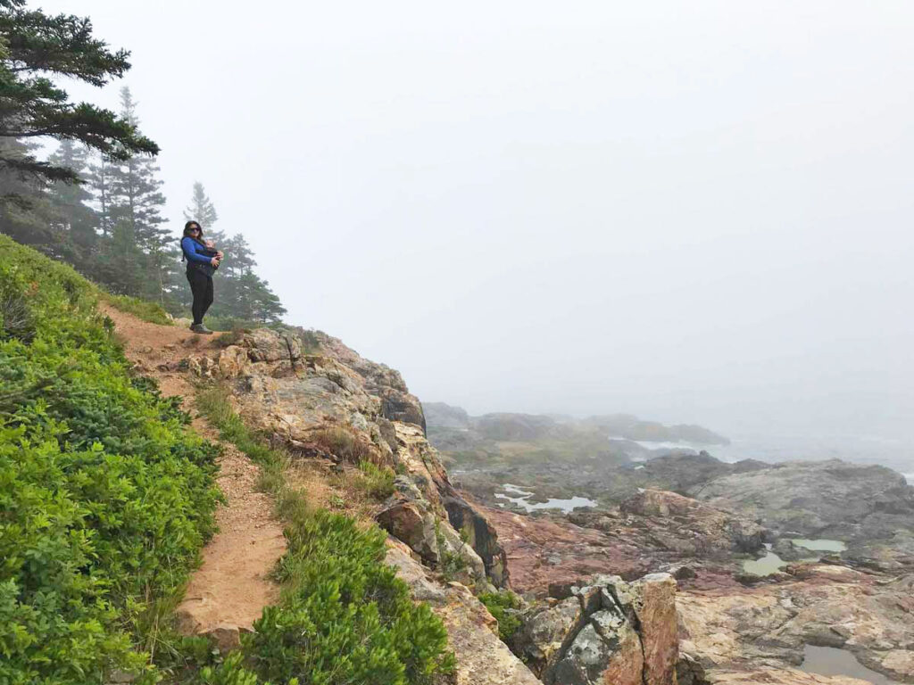 Hiking with baby in Acadia National Park near Sand Beach