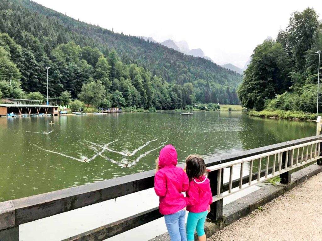 View of Lake Riessersee in Bavaria with Toddlers