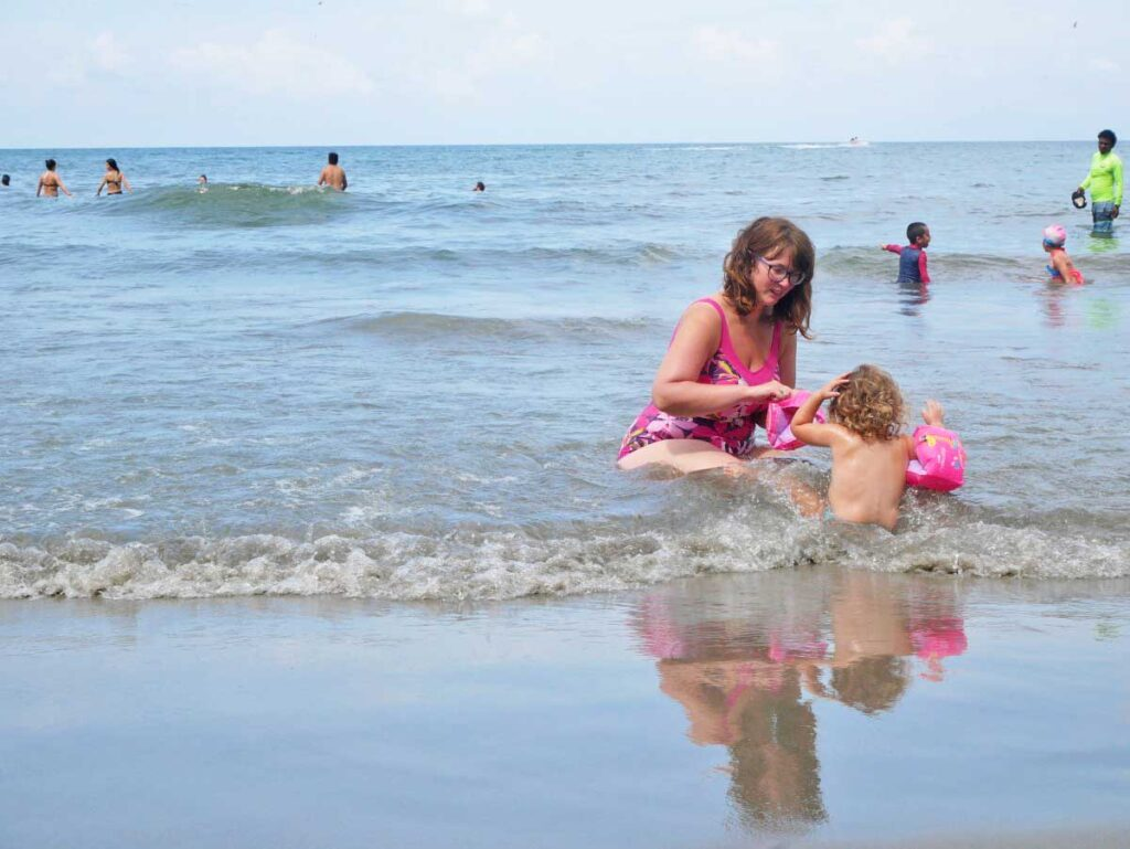 Visiting Beach in Cartagena with toddler
