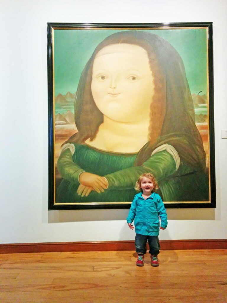 Botero museum with a toddler