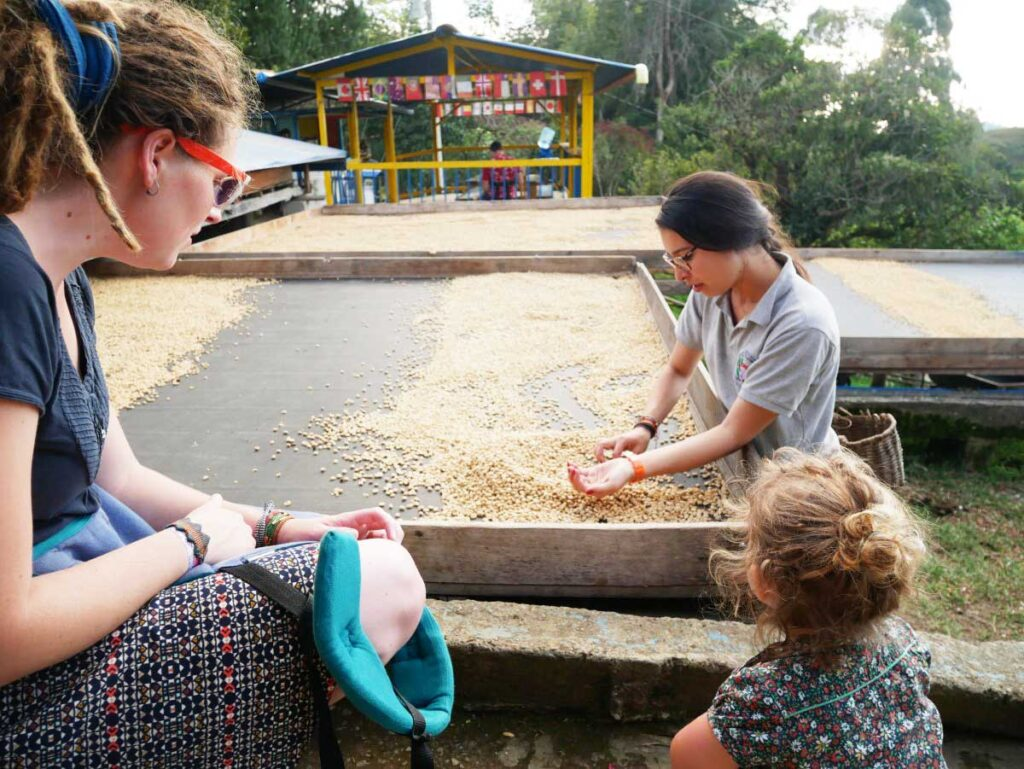 Las Acacias Coffee Farm in Colombia with a toddler