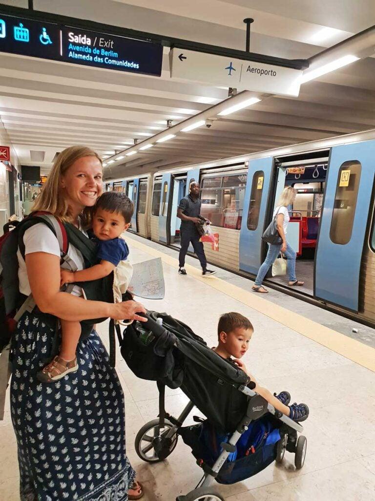 lisbon public transport with stroller