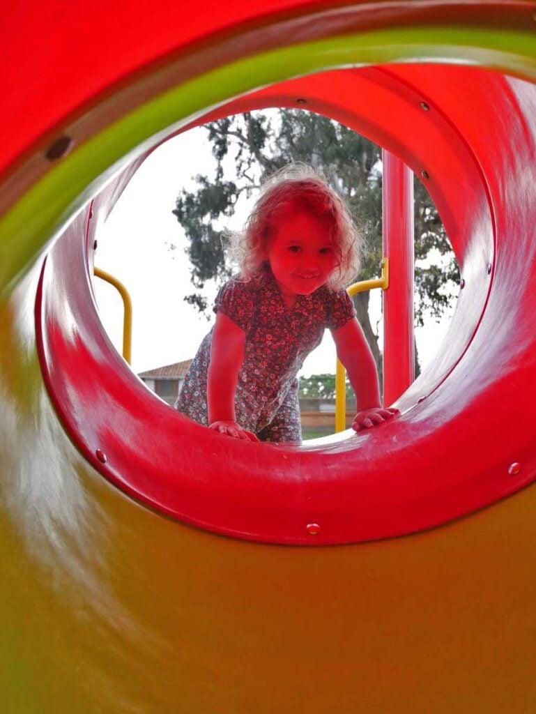 Playground in Villa de Leyva with toddler