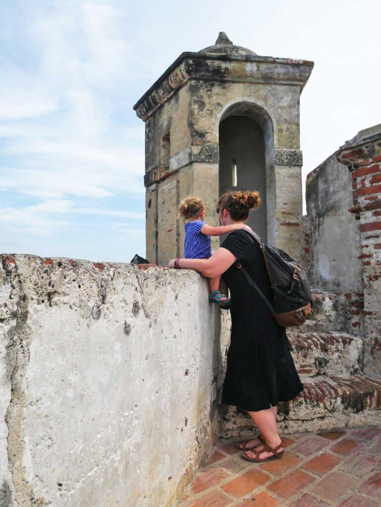 San Felipe Fortress in Cartagena Colombia with toddler
