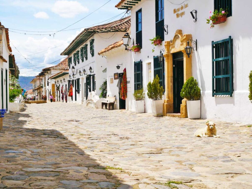 Cobblestone Street in Villa de Leyva in Colombia with toddlers