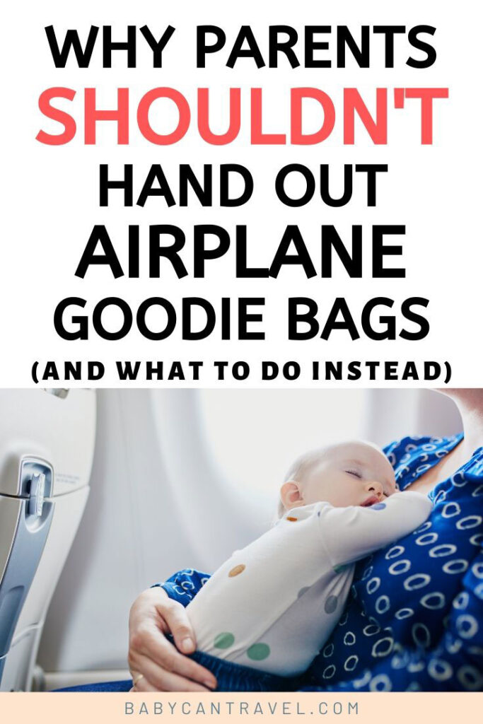 Image of baby sleeping on airplane with text overlay