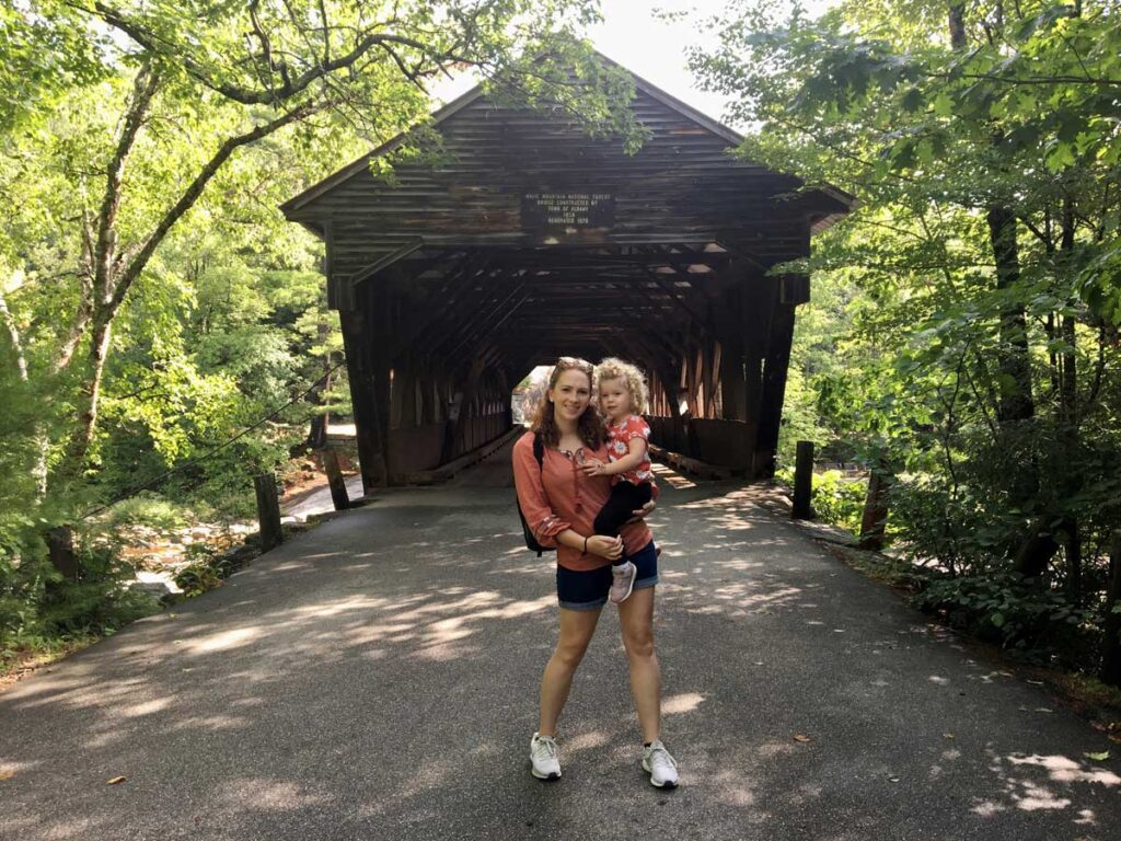 image of mom and toddler in front of Albany Covered Bridge