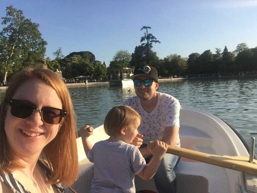 image of family on boat on Lake Retiro in Madrid Spain
