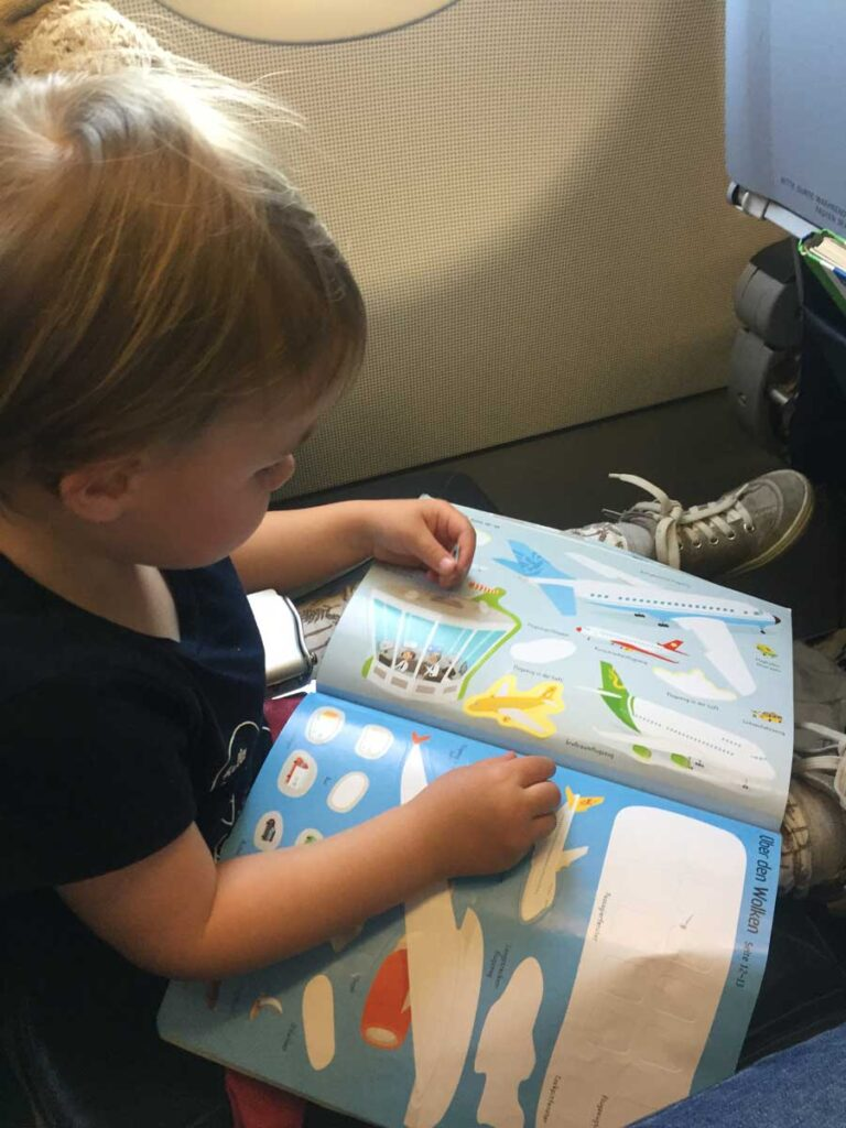 image of toddler activities on flight