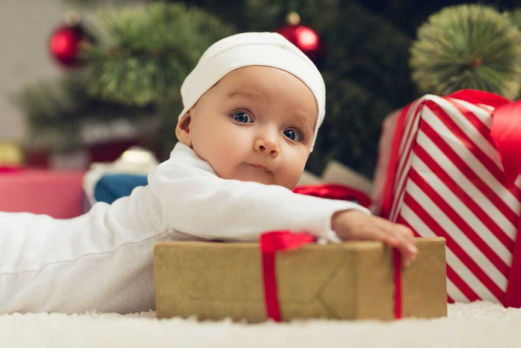 image of baby at christmas