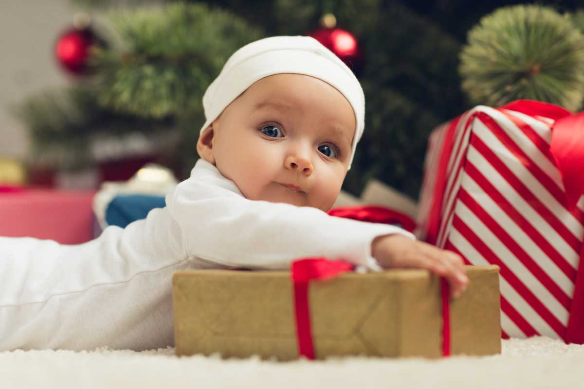 image of baby at christmas