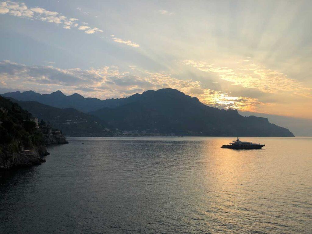 image of sunset along Amalfi Coast