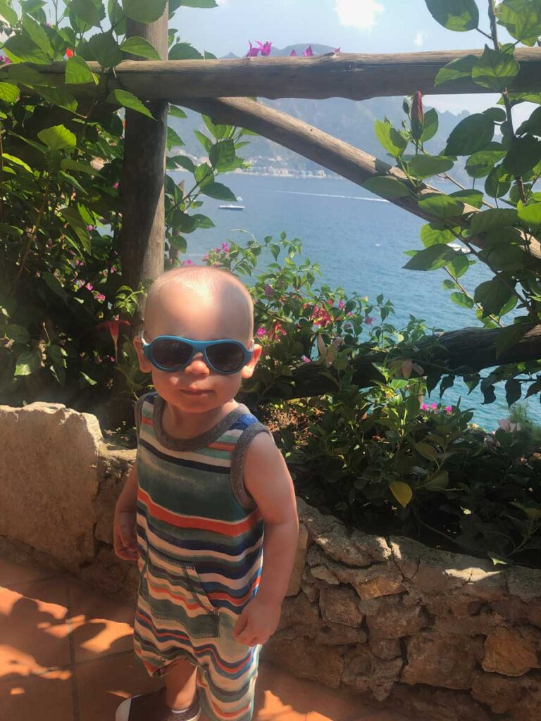 image of baby in sunglasses at hotel Amalfi Coast
