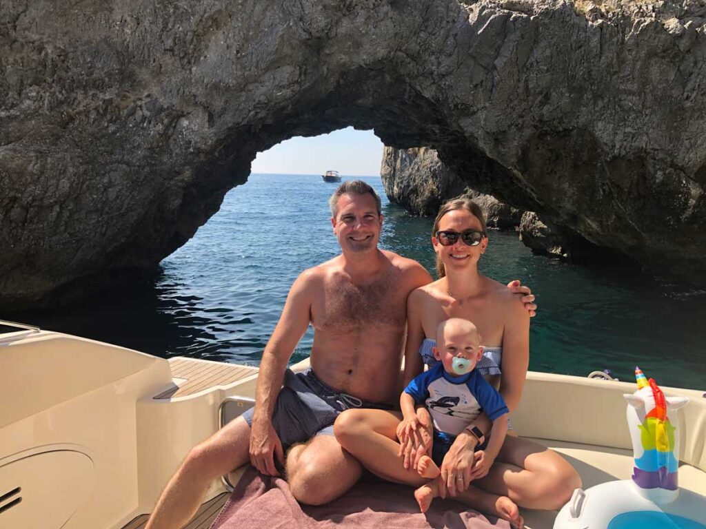 one of the best things to do in the Amalfi Coast with a toddler is a yacht trip