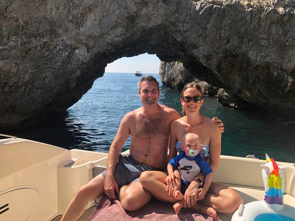 image of family on yacht trip along Amalfi Coast