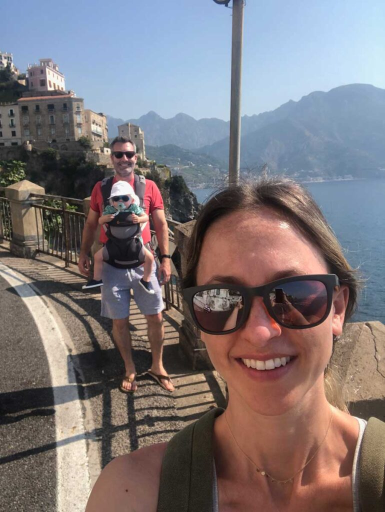 image of walking in Amalfi Coast with toddler in Carrier