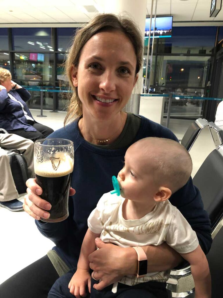image of woman and baby in airport