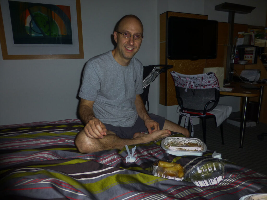 image of eating in the dark in hotel room