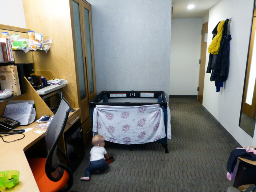 image of hotel room sharing with baby