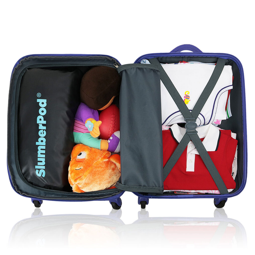image of slumberpod in carry-on suitcase