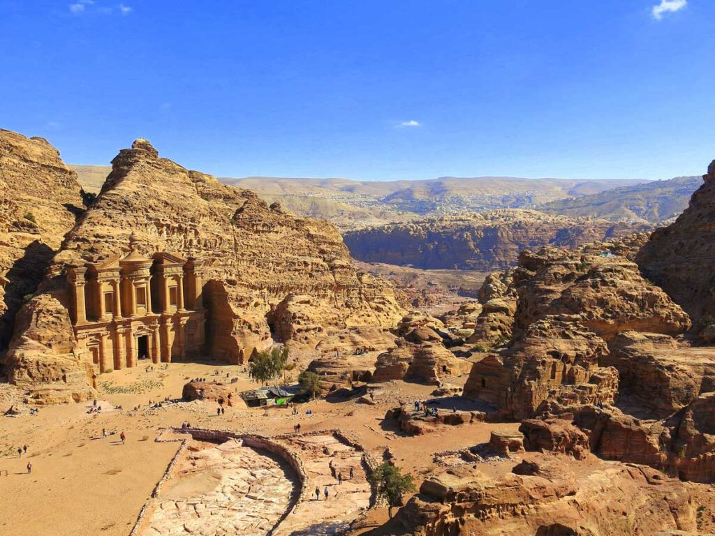 image of the view of the Monastery at Petra Jordan