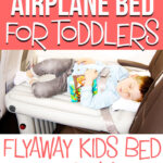 image of child on inflatable airplane cushion with text overlay of airplane bed for toddlers - Flyaway Kids Bed Review