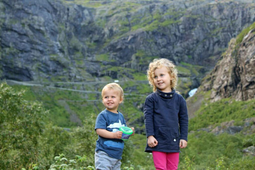 A toddler and a preschooler pose for a picture in Trollstigen,Norway