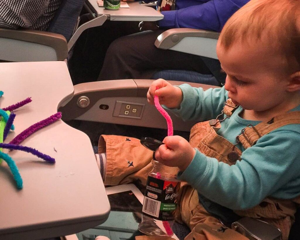 image of toddler travel toys on airplane