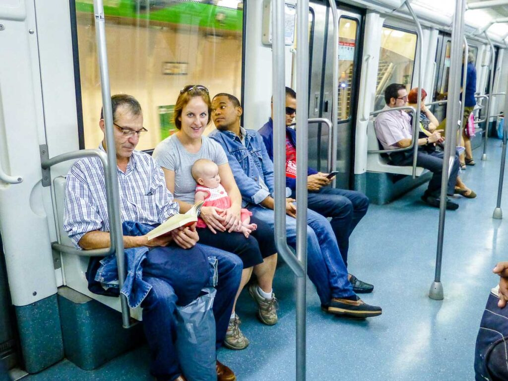 taking metro in Barcelona with a baby