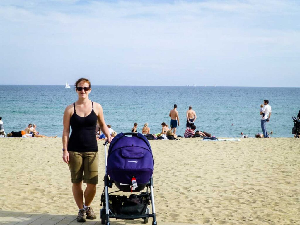 Barceloneta Beach with toddler or baby