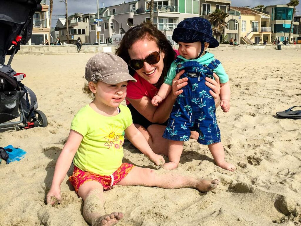 Mission Beach in San Diego with a baby and toddler