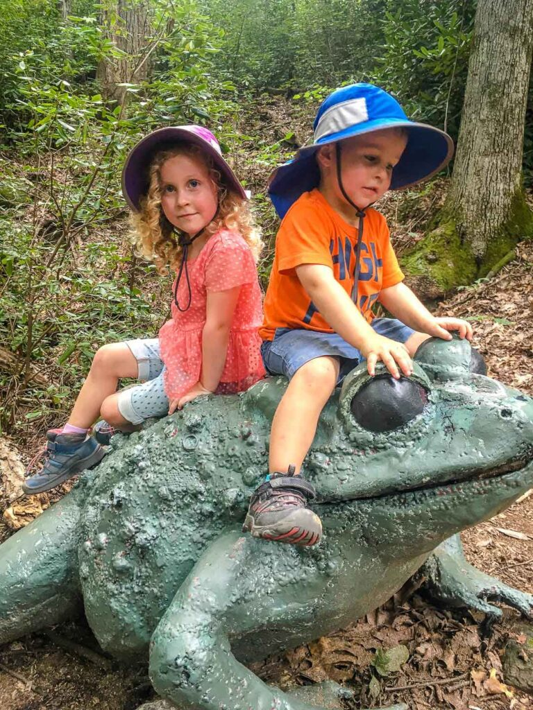Great Woodland Adventure hike in Chimney Rock State Park with toddlers